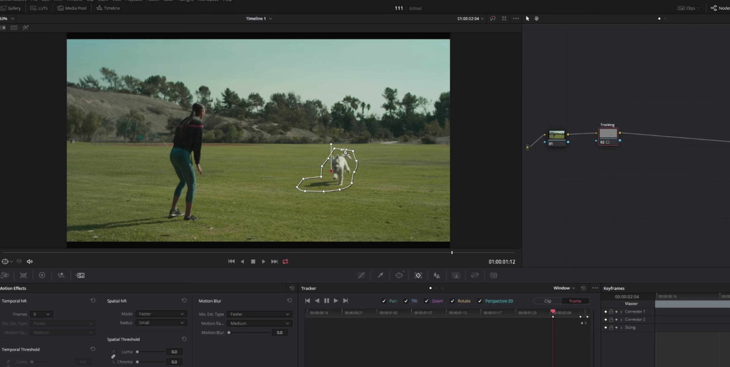 How to remove a moving object in the color grading space in Davinci 16